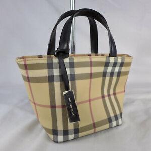 Authentic Rare Vintage Burberry Nova Check Mini Tote Basket Handbag Purse VGC