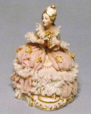 """Antique Germany Meissen Miniature Dresden Lace Victorian 4"""" Lady w/ Fan Figurine"""