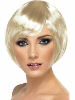 Blonde Babe Short & Straight Wig w/ Fringe Hairstyle -Ladies Fancy Dress Costume