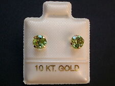 Peridot Ohrstecker - 1,20 ct. - 5 mm - 10 Kt. Gold - 417 - Ohrringe Brillant Cut