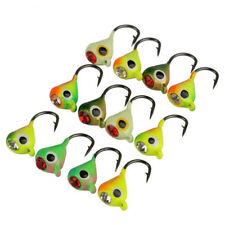 12pcs Ice Fishing Lures Bait Lead Head Jig Hook Jigging Fishing Tackle