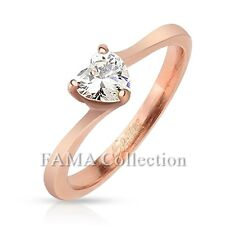 Gorgeous FAMA Stainless Steel Rose Gold IP Band Ring with Heart CZ Size 5-8