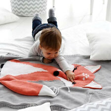 Creative Casual Cute Kids Infant Toddler Fox Knitting Bedding Quilt Play Blanket