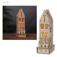 """LED Weihnachtshaus """"Minden"""" Leuchthaus aus Holz, Weihnachtsdekoration, Batterie"""