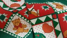 "2 Christmas Kerchiefs- Bandanas-Table-Cloths-22"" Sq Multi Christmas Colors"