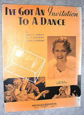 1934 I'VE GOT AN INVITATION TO A DANCE Vintage Sheet Music ETHEL SHUTTA by Symes