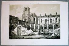 Lithographie de Mansson, La Chaisedieu, Auvergne