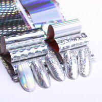 Holographic Nail Foils Silver Transfer Stickers Nail Art Decoration Decals Tips
