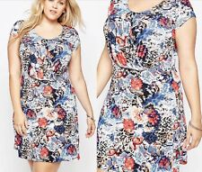 Praslin at Simply Be Blue Red Floral Silky Feel Dress Size 16