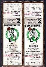 2 November 9, 1988 Boston Celtics & Chicago Bulls Full Tickets 52 Points Jordan
