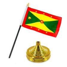 "Grenada 4""x6"" Flag Desk Set Table Stick Gold Base"