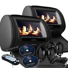 "Pair Black 2x 7"" LCD Car Pillow Video Headrest Monitor DVD Player Game Headphone"