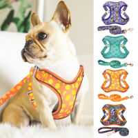 Fabric Mesh Pet Puppy Dog Vest Harness and Lead Reflective French Bulldog Beagle