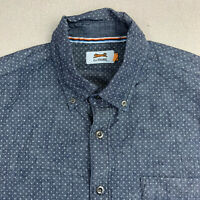 Le Tigre Button Up Shirt Mens Large Blue Star Pattern Short Sleeve Casual