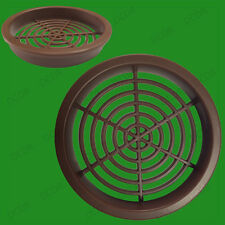 2x Brown Roof Soffit Round Air Vents Eaves Grille 60mm Hole Push Fit Ventilation
