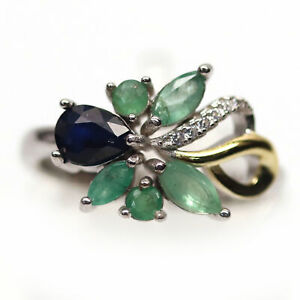 NATURAL 4 X 6 mm. BLUE SAPPHIRE, EMERALD & CZ 925 STERLING SILVER RING SZ 8