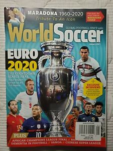 EURO 2020 WORLD SOCCER MAGAZINE JANUARY 2021 MARADONA FLIP COVER TRIBUTE