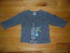 "Appaman T-Shirt Sz 6 Months ""King of New York"" Long Sleeve 100% cotton Gray"