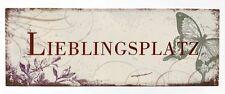 "Blechschild ""LIEBLINGSPLATZ"" 13 x 36cm Nostalgie Antik Metallschild"