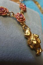 """WINNIE-THE-POOH COUTURE GOLD PLATED ? PINK CRYSTAL ROSES 18"""" NECKLACE PENDANT"""