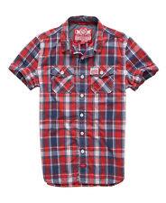 SUPERDRY Surfside Red Blue Plaid Wash Basket Shirt XXL fits L M XL? Short Sleeve