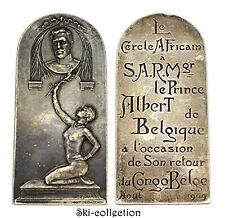 Médaille-Plaque Le Cercle Africain à Prince Albert de Belgique, Congo Belge 1909