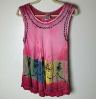 India Boutique Women's Sleeveless Tank Top One Size Floral Embroidered Tie Dye