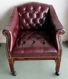 Vintage Oxblood Faux Leather Button Tufted Nailhead Rolling Club Chair