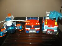 Lot of 3 Transformers Playskool Heroes Rescue Bots Blades, Heatwave energize