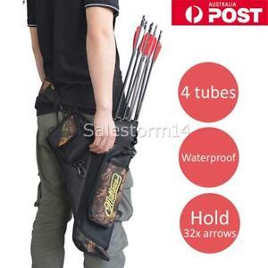 Arrow Quiver 4 Tube Holder bag Archery Back Side Waist Quiver Hunting Target AU