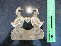 Brass Plaque Bless Our Home Ducks in Love wall decor Vintage Upper deck 1987