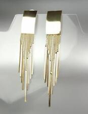 UNIQUE Artisanal Urban Gold Rectangle Fringe Dangles Earrings