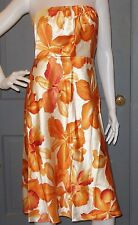 NWT floral BANANA REPUBLIC strapless SILK cocktail dress 2 tropical orange NEW