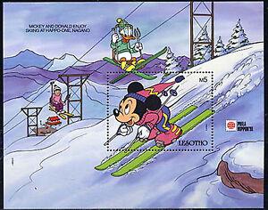 LESOTHO, Sc #815, MNH, 1991, S/S, Disney, Phila Nippon '91, Mickey skiing, A-B