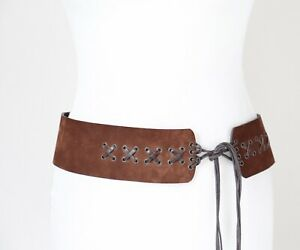Hipster Tie Belt - Suede Leather - Brown - Hippy 1970s Style - Medium