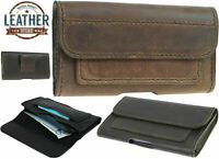 CLASSIC WAIST POUCH HANDMADE OF COWHIDE CASE COVER WITH 2 POCKETS FOR IPHONE