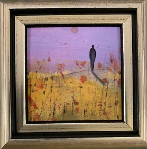 The Poppy Moon -Framed Miniature original Oil   - Sarah Gill