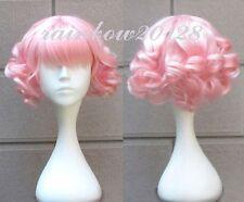 Pink Cute Lolita Curly Wavy Short Anime Cosplay Wig