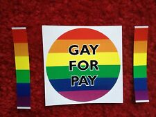 GAY FOR  PAY Bumper Sticker Rainbow Prank 3  inch round