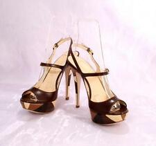 LORIBLU 9830 Brown Leather Strappy Sandals 38 / US 8
