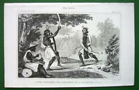 MOLUCCAS Bourour Island Natives War Dance - 1843 Antique Print