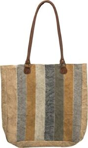 Primitives By Kathy Canvas Tote Bag - Yellow and Cream With Leather Shoulder Str