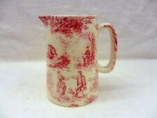 Pink toile de jouy half pint jug pitcher jug by Heron Cross Pottery