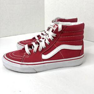 VANS Sk8 Hi Red Canvas Lace Up Hi Top Skate Shoes Men's Size 4.5 Women's Size 6