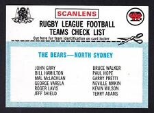 SCANLENS 1977 NORTHS CHECK LIST UNMARKED
