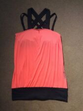 Les Mills Reebok women's long tank salmon with black trim crossover front XS