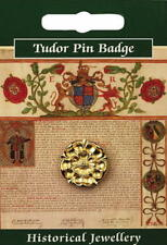 Tudor Rose Gold Plated Pewter Lapel Pin Badge War of the Roses English