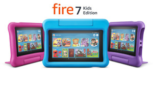 NEW Amazon Fire 7 Kids Edition Tablet 16GB (9th Gen) - Blue Pink Purple - COLORS