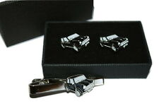 Black Mini Car Cufflinks Gift Boxed Option with or without tie pin Enamel