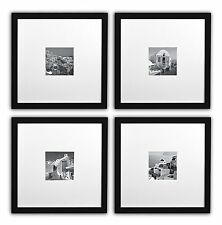 Smartphone Frames Collection, Set of 4,11x11-inch Square Photo Wood Frames,black